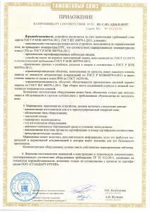 Приложение 2 к сертификату взрывозащиты. EAC. ТР ТС (по 22.09.2021 г.)